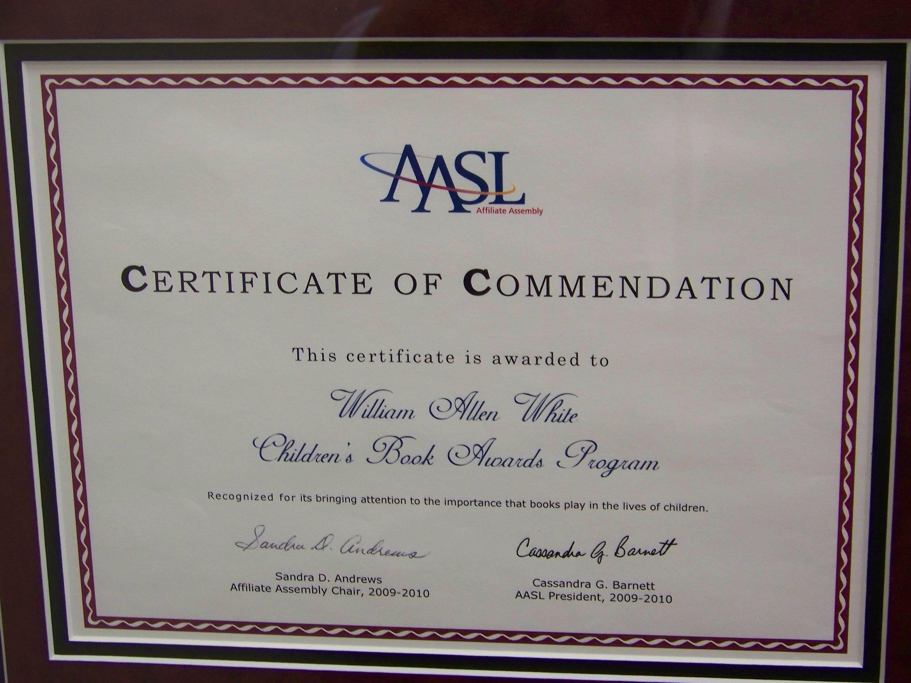 Kasl Aasl Commendation