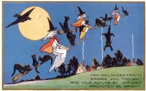 Vintage-halloween-three-witches-black-cats-broomsticks-crow-moon-postcard1