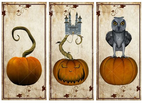 10867035-Vintage-halloween-postcards--Stock-Photo-labels